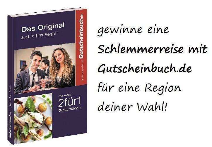 """Gewinnspiel: wir verlosen """"Schlemmerreise mit Gutscheinbuch.de"""" für eine Region deiner Wahl! Zum Teilnahmeformular:"""