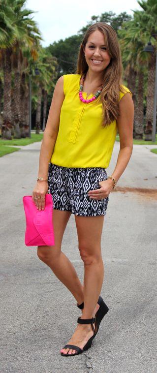 Yellow top and black tribal print shorts via @jseverydayfash
