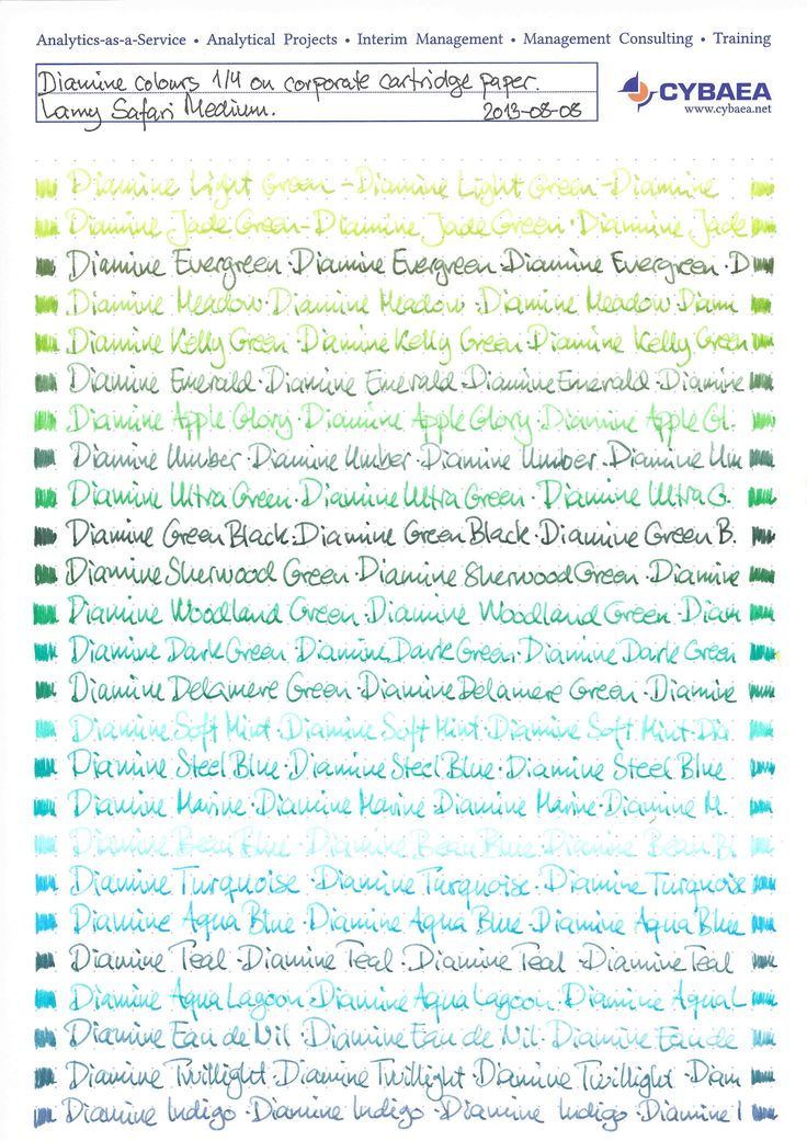 Diamine colours on corporate cartrige paper. Lamy Safari Medium.