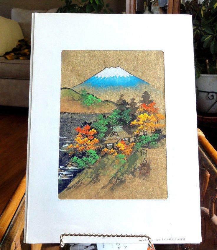 Japanese Signed Original Hand Painted Mountain Scene Print Stunning Colors