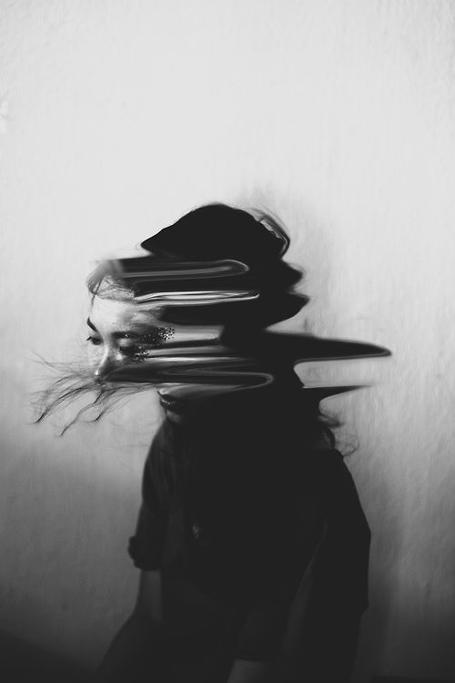 """This is what I """"feel"""" like is happening when I have a dissociation event. I feel like i'm warping into two people and I don't know which one my soul should go into. I get numb then tingly and scared and sick feeling."""