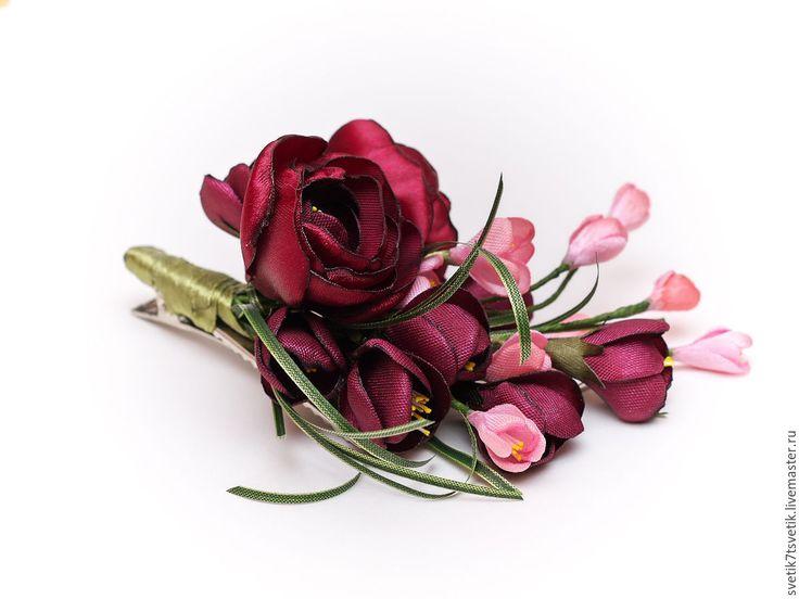 """Купить Зажим для волос - брошь из атласных лент """"Бордо"""" - бордовый, розовый, брошь ручной работы"""