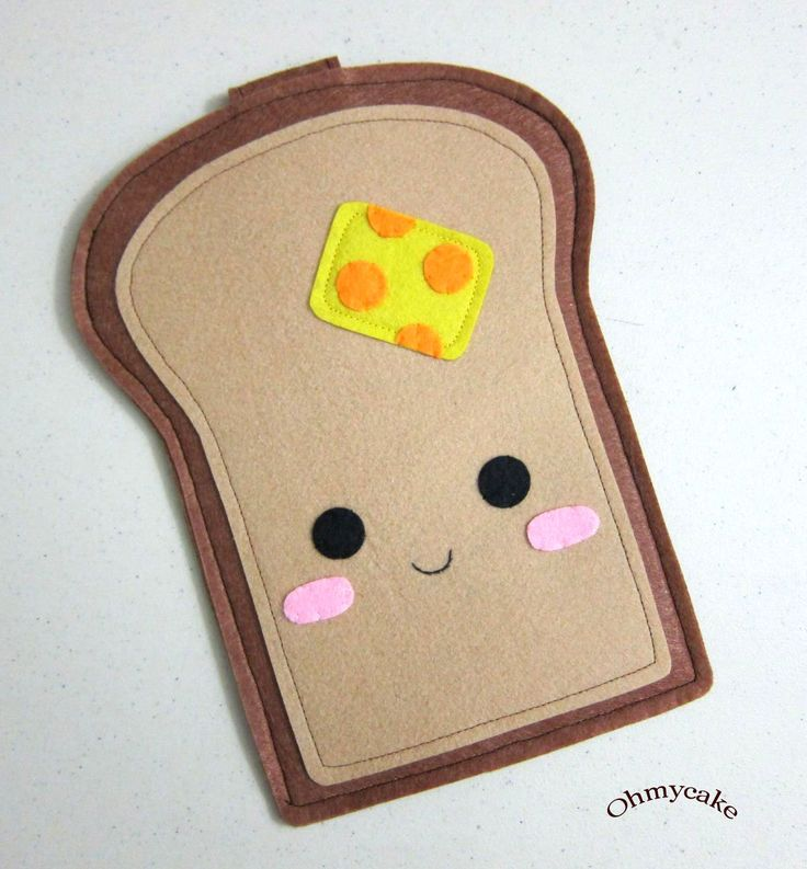"""There's nothing about this I don't like! iPhone Case - Cell Phone Case - iPhone 4 Case - iPod Case - iPod Touch Case - Handmade iPhone Felt Case - """" Kawaii Toast """" Design. $18.00, via Etsy. My granddaughter just finished making this."""