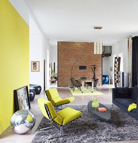 Jaune imp rial entre jaune et vert cette couleur est tr s acidul e pos e sur un seul mur - Jaune et vert donne quelle couleur ...