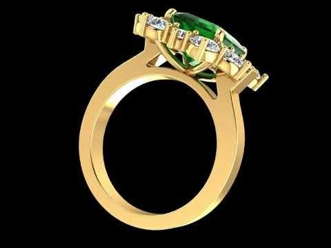 Emerald Gemstone Diamond Gold Ring
