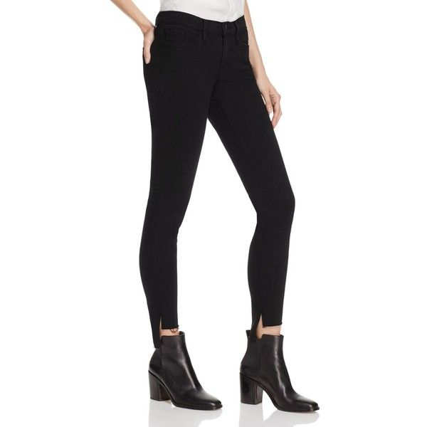 Frame Skinny De Jeanne Raw Stagger Jeans in Film Noir ($220) ❤ liked on Polyvore featuring jeans, film noir, super skinny jeans, dark skinny jeans, skinny leg jeans, dark denim skinny jeans and frame denim jeans