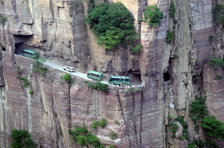 Guoliang Tunnel, China – This tunnel goes straight through a mountain and is 1200-meter long.