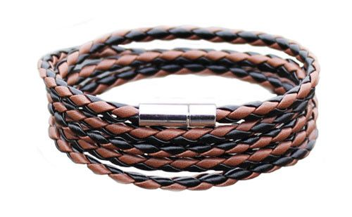 The Adderley Brown & Black Men's Leather Bracelet