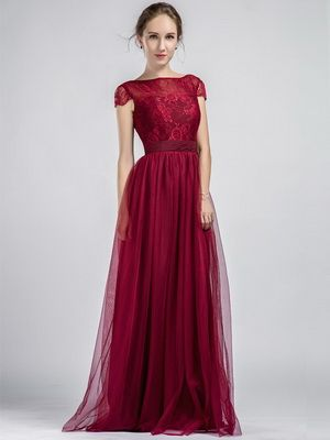 Long Cap Sleeves Lace and Tulle Marsala Bridesmaid Dress With Low V Back