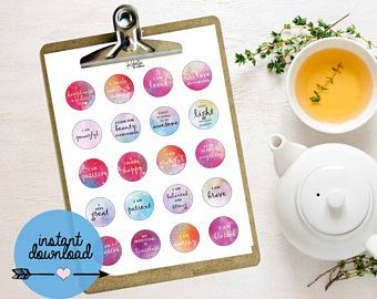 """Affirmation Quote Stickers - Printable Stickers - 1.5"""" Round Stickers - AVERY - Instant Download"""