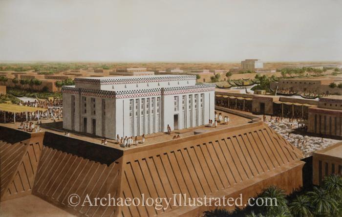 "Sumerian city of Uruk around 3100 BC. So-called ""White Temple"" of the Sky god Anu"