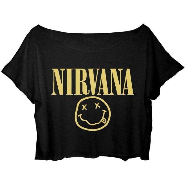 ASA Women's Crop Top Nirvana Shirt Kurt Cobain Nirvana T-Shirt (€15) ❤ liked on Polyvore featuring tops, t-shirts, shirts, crop tops, black crop tee, black t shirt, black crop top, crop shirts and shirt crop top