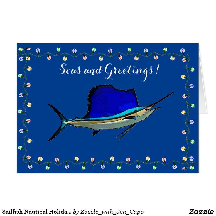 Sailfish nautical holiday card
