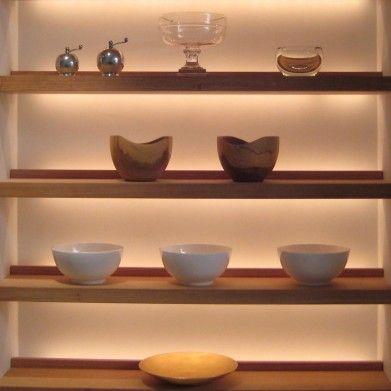 back lit shelves - marble kitchen