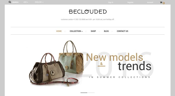 BeClouded is an excellent theme for creating a bag related online shop. BeClouded offers elegant, simplistic approach to showcasing bags and other related items.