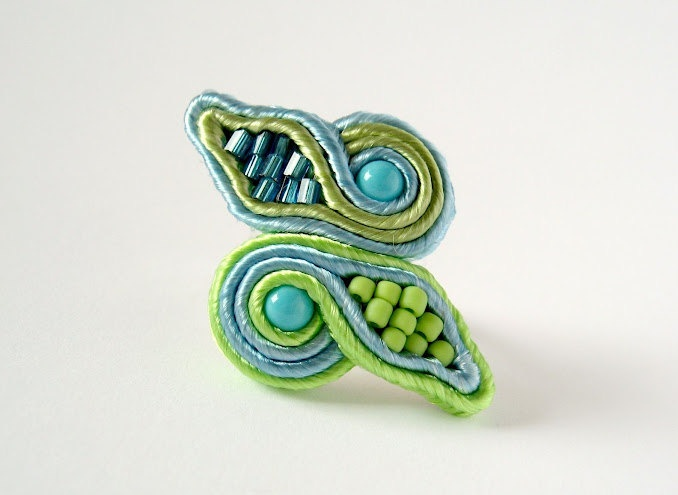 Handmade Embroidered Soutache Ring. Bead Embroidery. Soutache Jewelry. Gift under 20. Green. Blue. Spring. Summer.. $14,00, via Etsy.