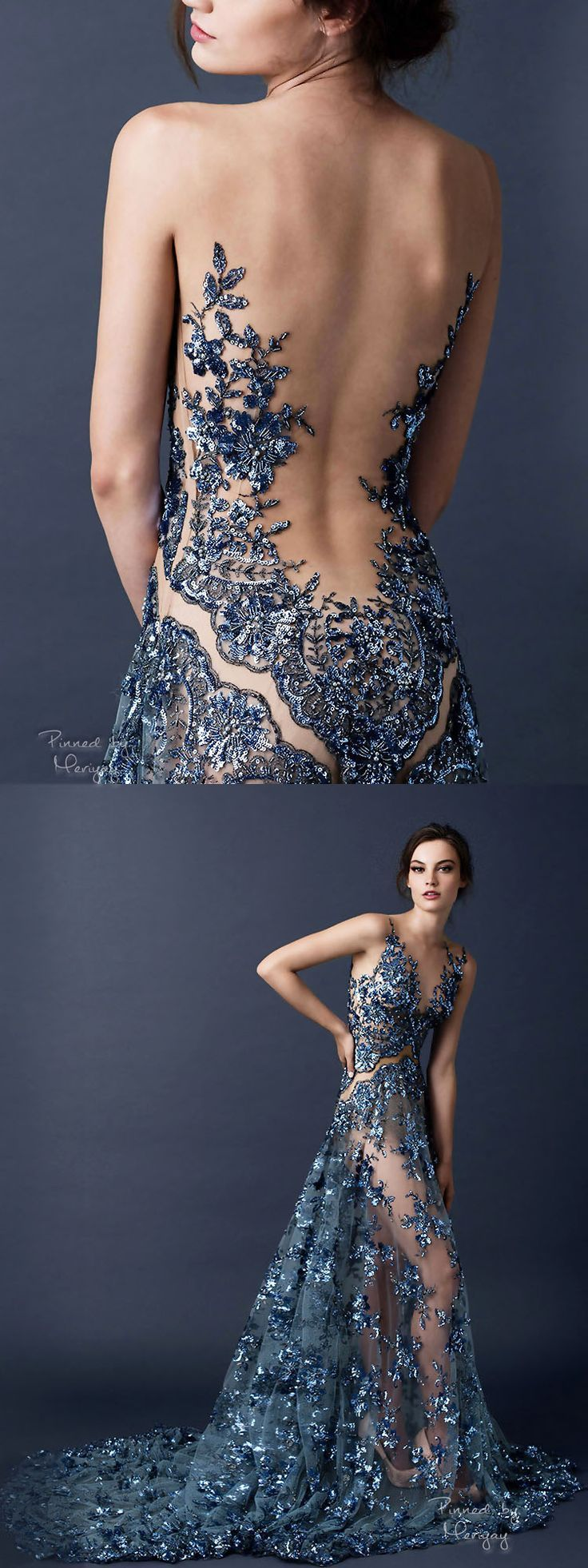 Back less long blue dress with silver decor its a must have