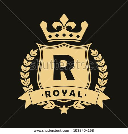 c4a0e386 Royal design logo with shield, crown, laurel wreath and ribbon. Luxury  logotype template