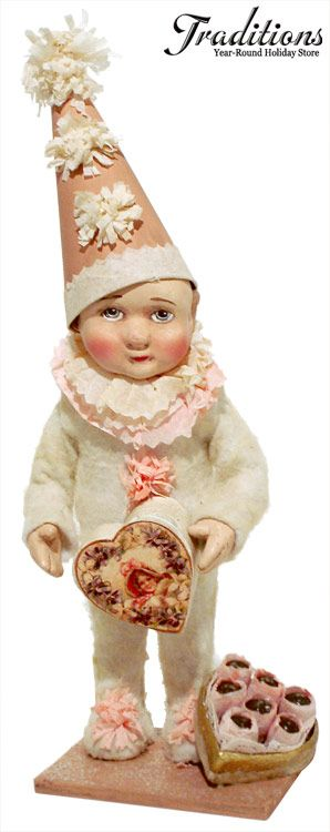 """Vickie Smyers for Bethany Lowe BOX OF CHOCOLATES VALENTINE BOY  Resin, cotton batting, crepe, paper hat & heart box 9x3"""" #VS2218"""