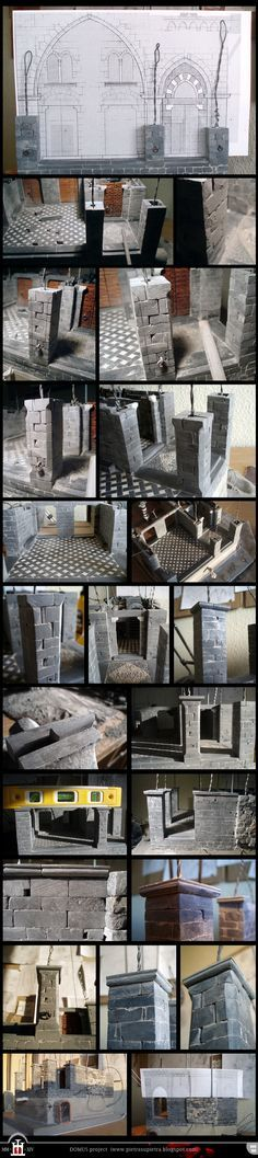Dp 99-100: Front pillars and string-course - The Domus project is the construction in scale 1:50 of an imaginary medieval palace. It's made of clay, stones, slate, wood and other construction materials in the style of rich genoese buildings from the middle of XIV century.