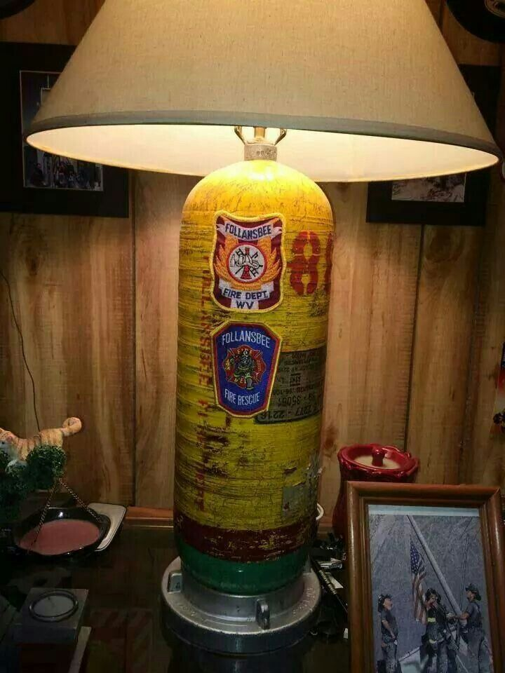 Great for the man cave  Old BA cylinder up cycled as a lamp 1273 best Forever a Firefighter images on Pinterest   Fire dept  . Firefighter Room Decorations. Home Design Ideas