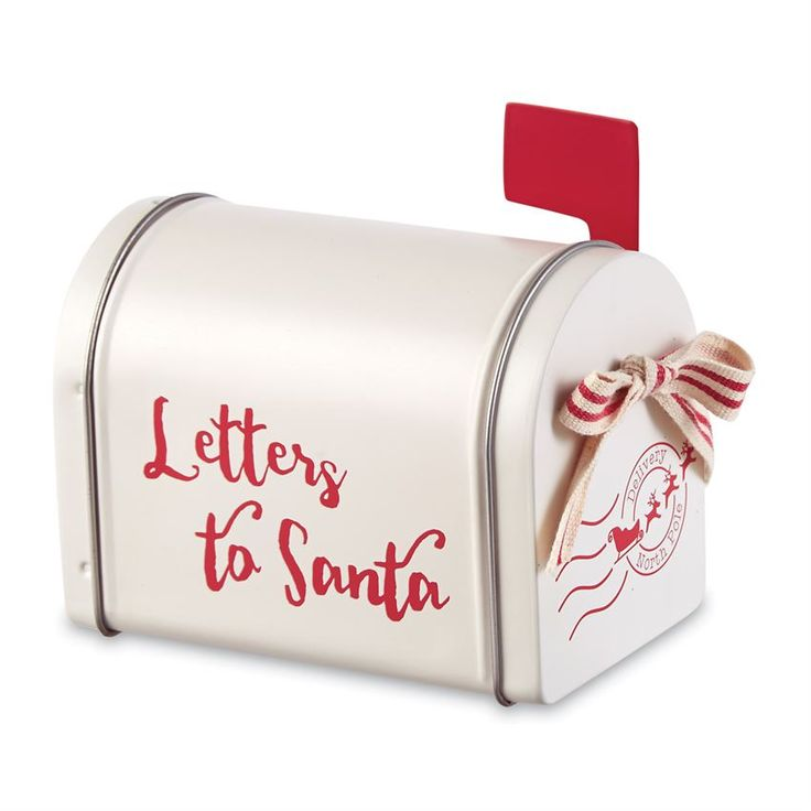 Miniature metal mailbox features screen printed Letters to Santa message with metal swivel flag and working hinged door with striped canvas bow accent.