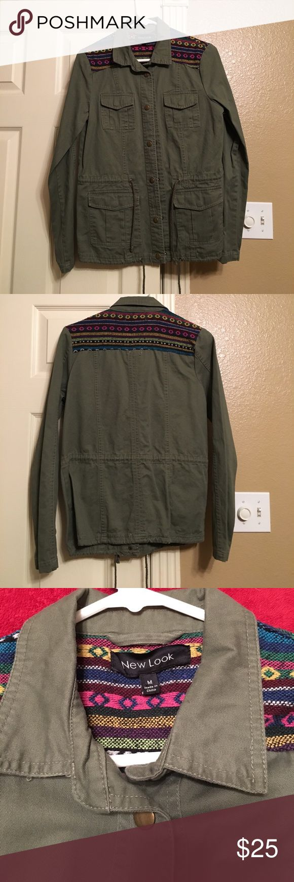 NEW LOOK GREEN Jacket New Look Army Green Jacket. Excellent condition. Long sleeve with snaps up the front. Also has string around waist and bottom. On shoulders a multi colored pattern- very cute and stylish! New Look Jackets & Coats Jean Jackets