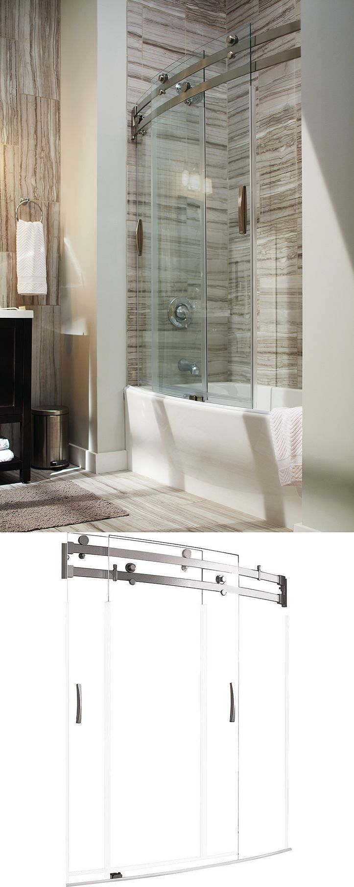 delta classic 400 curve 60 in x 62 in frameless sliding tub door in stainless - Delta Shower Doors