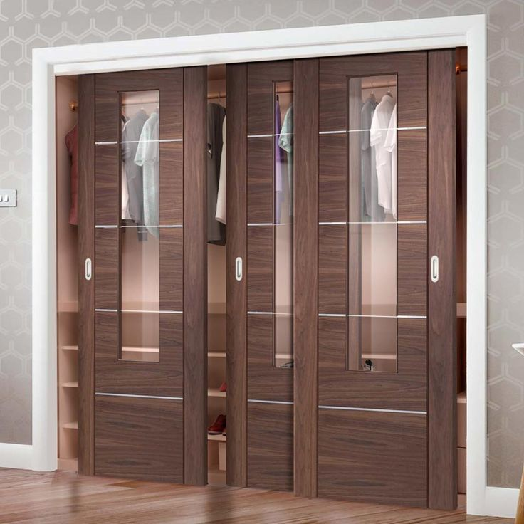 Lovely Bespoke Thruslide Portici Walnut Glazed Door Wardrobe and Frame Kit Aluminium Inlay Prefinished