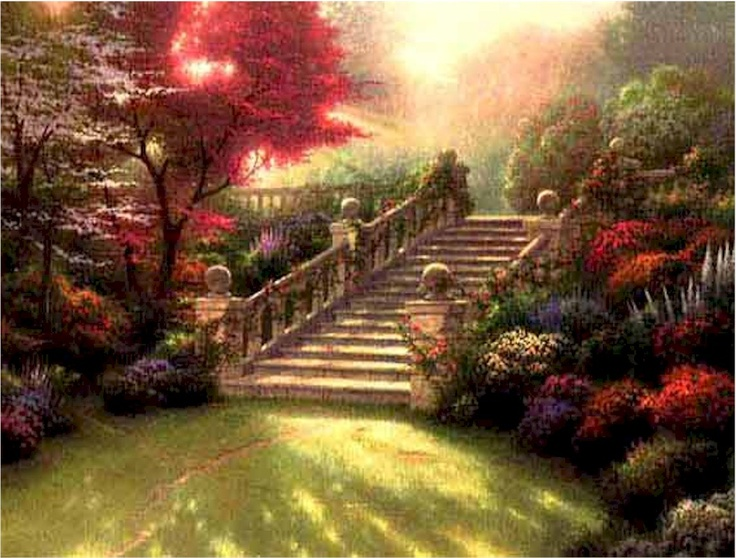 Thomas Kinkade painting....Love how he captures the light and color.