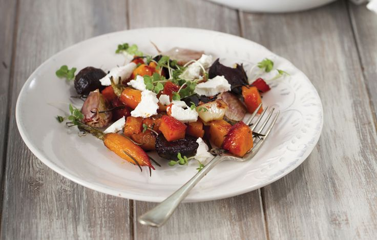 Laura's grilled goat's cheese, roast beetroot and butternut squash salad