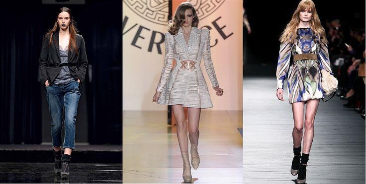 I fashion brands propongono cinture alte sopra l'ombelico da indossare su giacche abbottonate e non.