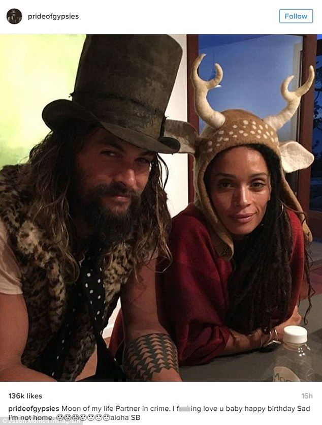 Big softy: Jason Momoa plays a tough guy in movies, but in real life, he's a sweetheart as he showed when he confessed his love for his partner-in-crime and wife Lisa Bonet just two days after their 9th wedding anniversary