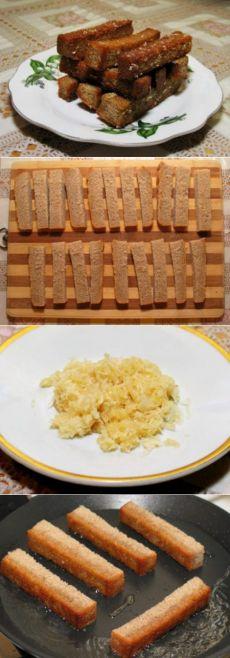 Гренки из черного хлеба с чесноком.  =ржаной хлеб — половина буханки чеснок — 1 головка растительное масло =Способ приготовления 1. С хлеба срезаем верхнюю темную корочку и нарезаем хлеб брусочками толщиной 1-1,5 см. 2. Чеснок чистим и пропускаем через пресс. 3. На разогретую сковороду с маслом выкладываем брусочки хлеба и обжариваем со всех сторон до золотистой корочки. 4. Гренки остужаем и натираем чесноком.