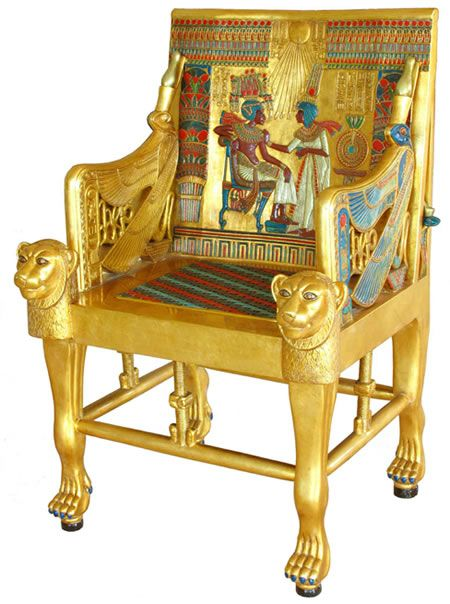 Golden throne of tutankhamun egyptian pharaohs furniture home d cor sculpture chair available Home design golden city furniture
