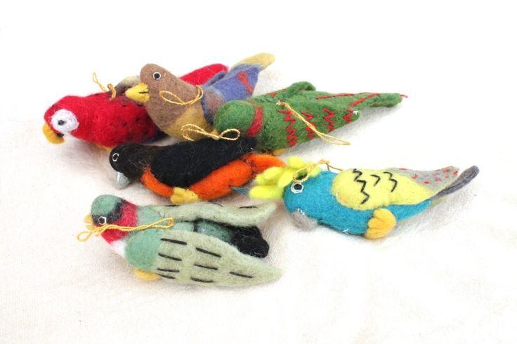 Felt Birds with small string | All our felt pieces are handmade by our artisan producers in Nepal