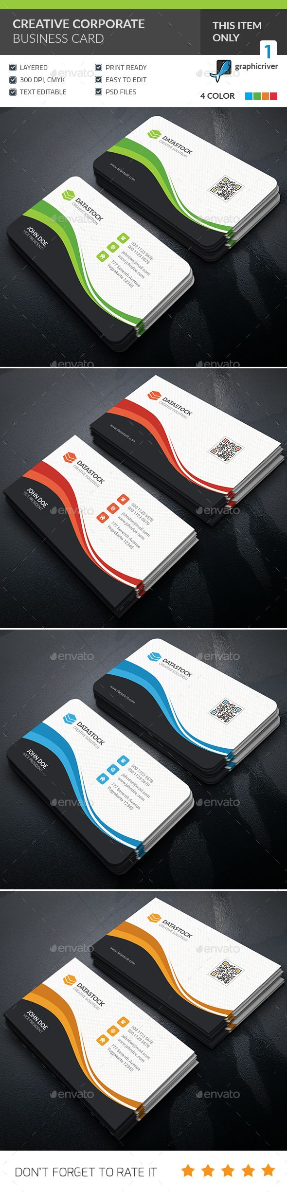 Creative Corporate Business Card Template PSD. Download here: http://graphicriver.net/item/creative-corporate-business-card/15874362?ref=ksioks