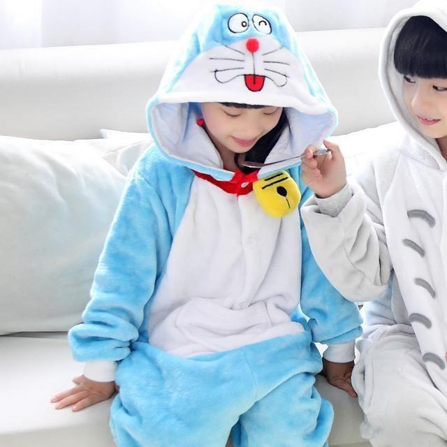 Halloween Costumes Winter Doraemon Totoro Animal Cosplay Costume Cartoon Pajama Children Onesie Cosplay Kids Clothing Clothes XL