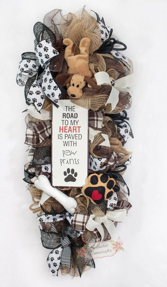 Calling all dog lovers! Show your love for your best four-legged friend with this adorable dog themed door swag! My wreaths also make