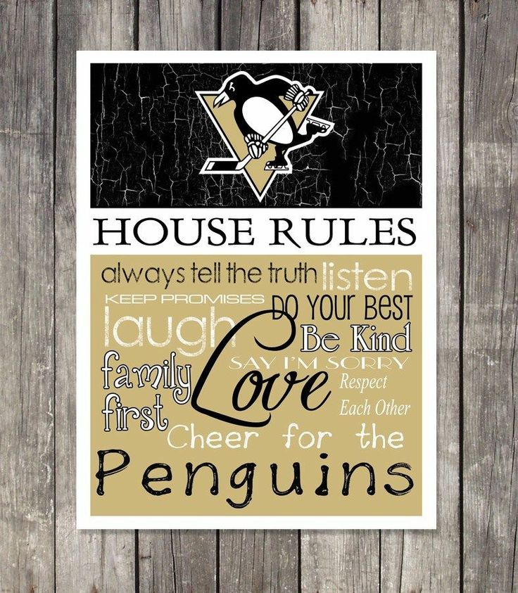 PITTSBURGH PENGUINS Hockey HOUSE RULES Wall Art **NEW ITEM**