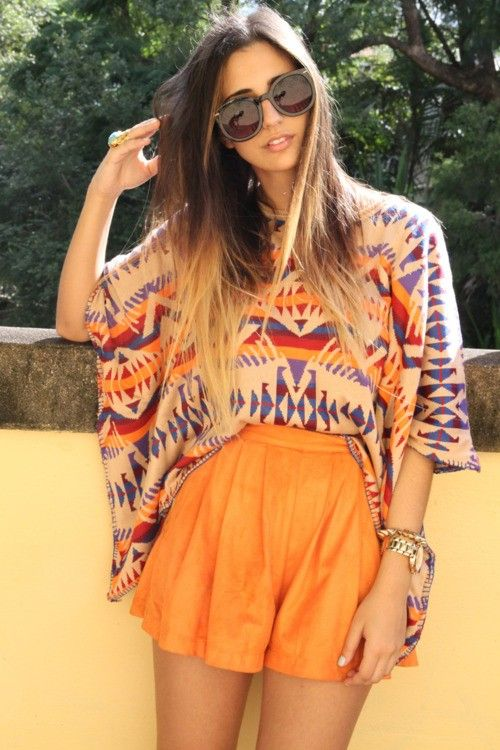 Orange, Fashion, Summer Outfit, Style, Ombre Hair, Aztec Prints, Shorts, Tribal Prints, Bright Colors