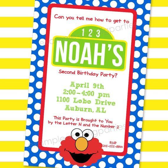 elmo birthday invitation | sesame street invitation | elmo party, Party invitations