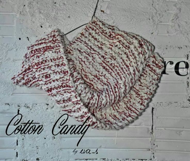 CottonCandy Infinity Scarf, red&white, designed by eva.s