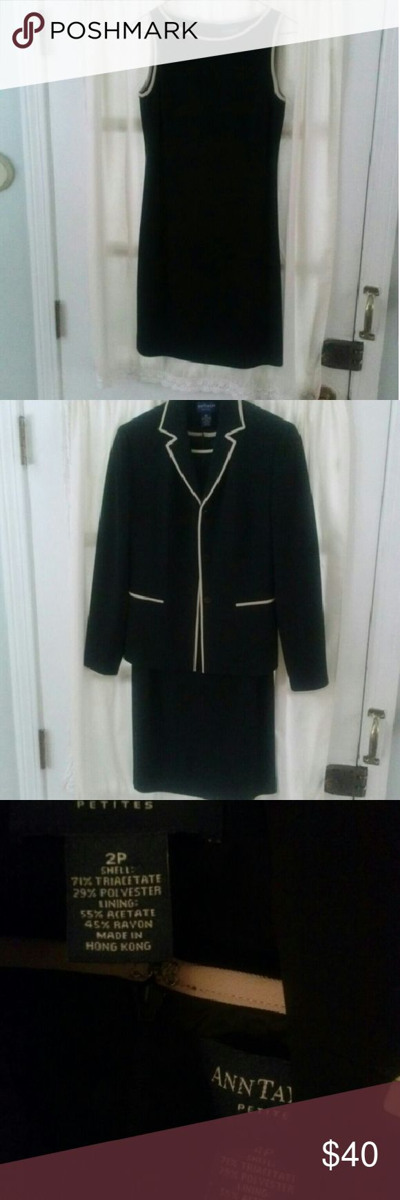 ANN TAYLOR PETITES TWO PIECE SUIT, DRESS & JACKET The little black dress and matching blazer make for the perfect suit!  You can wear this suit to work and take the jacket off for an evening out!  The dress is a 4 petite and the jacket is a 2 petite.   They are in excellent condition!  More pics available. Ann Taylor Dresses