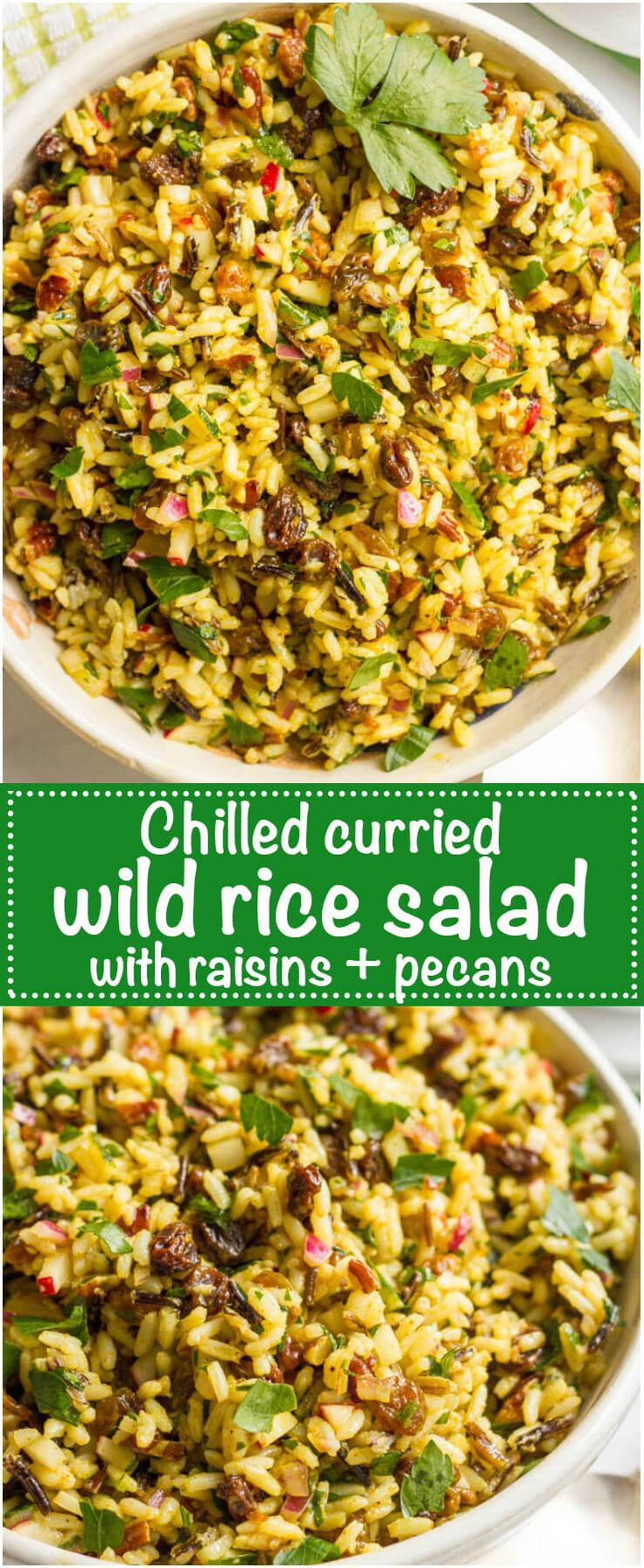 Cold curried wild rice salad with raisins and pecans - an addictive and easy side dish! | www.familyfoodonthetable.com | #ad @unclebensrice