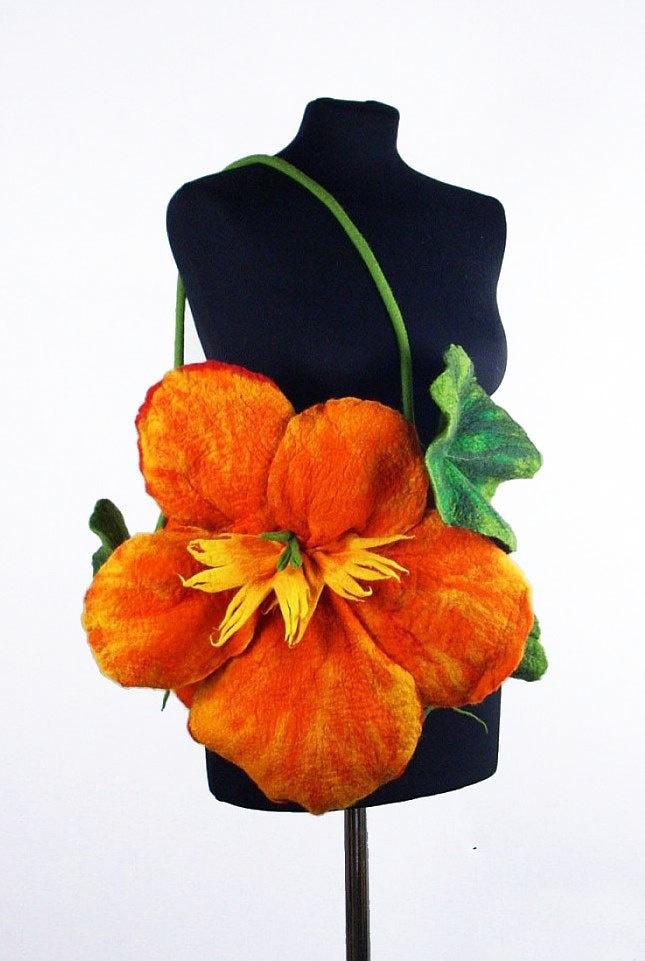 Felted Bag Nasturtium Purse Flower handbag wild Felt Nunofelt Nuno felt tangerine fairy floral fantasy shoulder bag Fiber Art boho. $229.00, via Etsy.