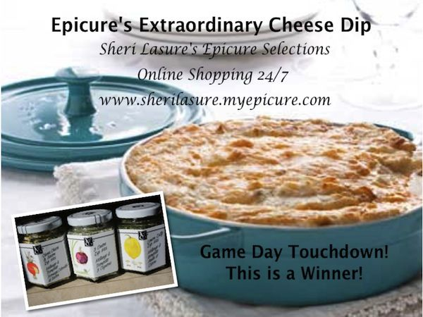 "EPICURE'S EXTRAORDINARY CHEESE DIP - This is the ""Mother"" of ALL Hot Dips! 1. Preheat oven to 350° F (175° C). 2. Combine together in Medium Bowl - 1 pkg. Cream Cheese, 1 C shredded Mozza & Cheddar Cheeses, 1 C light Mayo, 1 Tbsp each of Epicure's Cheese Chives & Bacon/Lemon Dilly/3 Onion Dips. Mix all ingredients until well-blended and spoon into Epicure's Baker. 3. Bake 20–30 min, or until heated through. You'll NOT want to stray far when digging into this Dip.... Trust Me!"