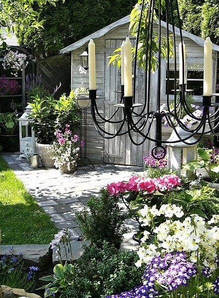 Whitewash shed and a chandy: Garden Sheds, Garden Ideas, Shabby Chic, Potting Sheds, Gardens, Outdoor Spaces, Candle Chandelier