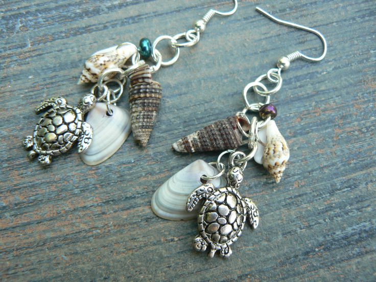 sea turtle and shell earrings sea turtle seashells earrings in beach mermaid boho gypsy hippie hipster beach and fantasy style