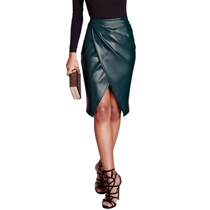 """Skirts. Género: Mujeres Decoración: Ninguno Cintura: Imperio Tipo de Patrón: Sólido Estilo: """"Europa y América del estilo Material: de cuero de imitación Vestidos largos: Rodilla-Longitud Silueta: Lápiz Número de modelo: faldas del lápiz Marca: feitong"""